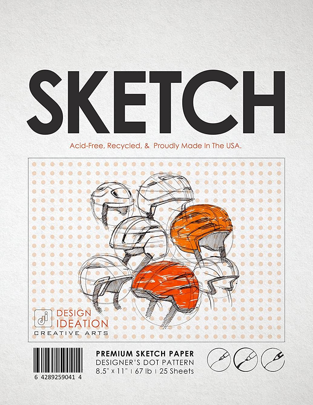 Premium Sketch Paper for Pencil, Ink, and Marker. Orange Designer's Dot Pattern Grid. Great for Art, Design and Education. (Jumbo 8.5