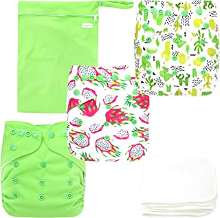 Langsprit Baby Cloth Diaper with Highly Absorbent Bamboo Inserts & Wet Bag,Reusable Unisex Baby Diapers