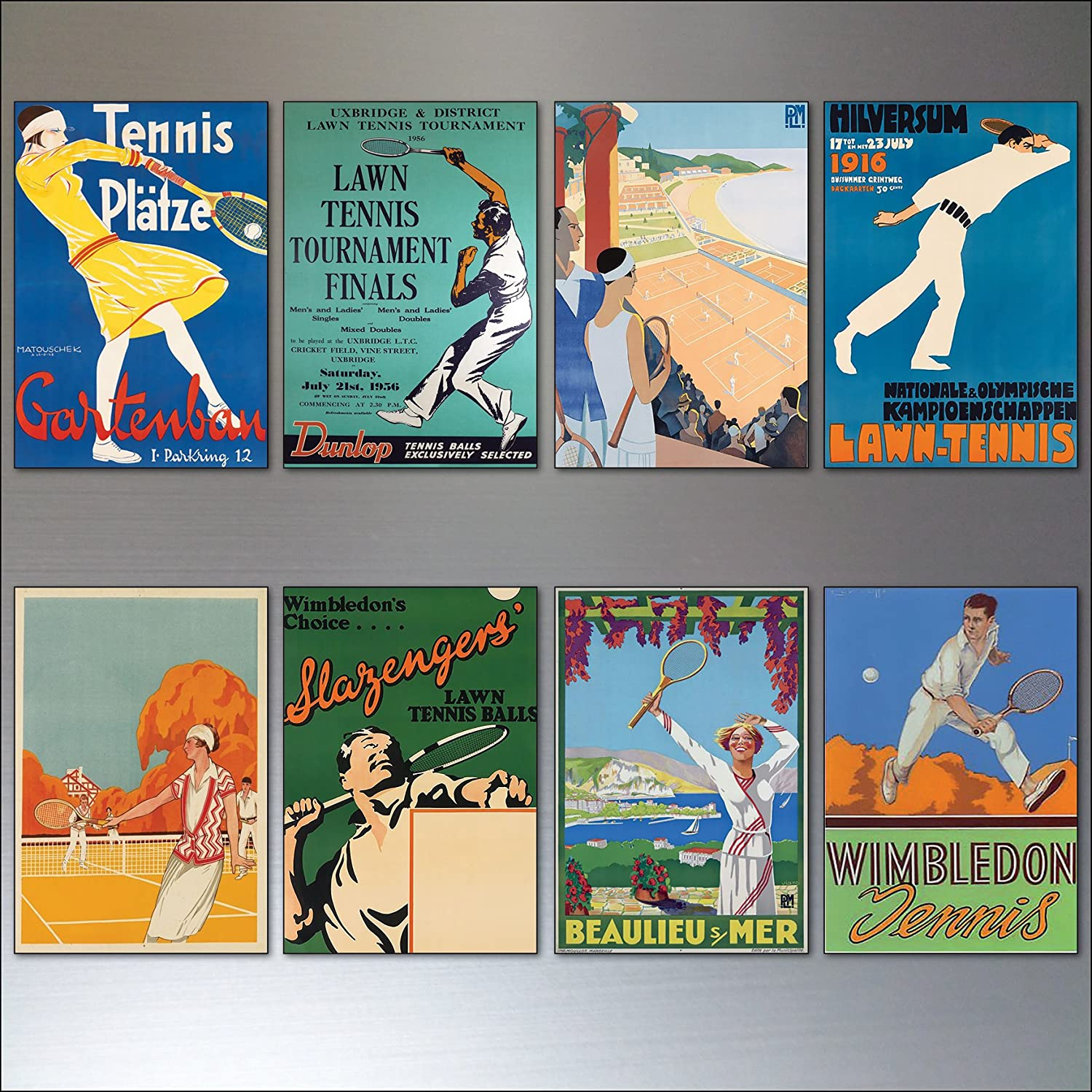 Tennis vintage 70% OFF Outlet sports posters fridge … set magnets of High quality new 8