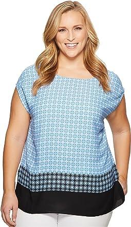 Vince Camuto Specialty Size Plus Size Veranda Tile Print Extend Shoulder Blouse