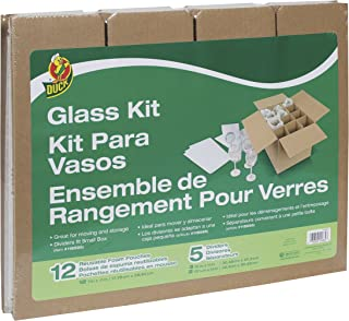 Duck Brand Glass Kit, 5 Corrugate Dividers and 12 Foam Pouches, Box Not Included (1362685)