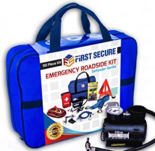 First Secure Car Emergency Kit with Roadside Assistance Jumper Cables Portable Air Compressor Tow Strap