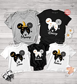 Family Halloween Shirts, Family Matching T-Shirt, Personalized Minnie Graphic Tee, Minnie Ears Halloween Shirts, Mommy Daddy Kids Gift Shirts
