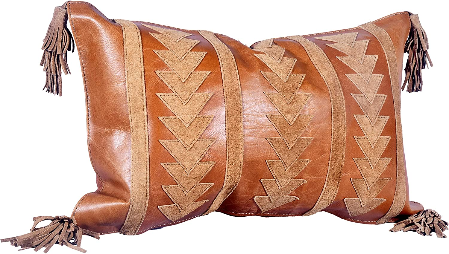 Overseas parallel import Industry No. 1 regular item Arrow Design Leather Pillow 20x12 with Tassels