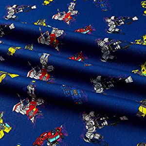 Eugene Textiles Camelot Hasbro Transformers in Action Navy, Fabric by the Yard