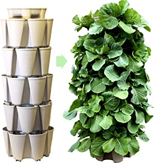 GreenStalk Patented Large 5 Tier Vertical Garden Planter with Patented Internal Watering System Great for Growing a Variety of Strawberries, Vegetables, Herbs, Flowers (Stunning Stone)