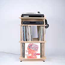 Line Phono Turntable Station Turntable Stand + Vinyl Record Storage, Made in The USA - Baltic Birch Model