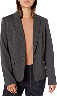 NINE WEST Womens 10733604 1 Button Notch Collar Heathered Ponte Jacket Blazer - Gray
