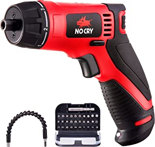 NoCry 10 N.m Cordless Electric Screwdriver - with 30 Screw Bits Set, Rechargeable 7.2 Volt Lithium Ion Battery, 2 Extension Drivers, and a Built-In LED Light