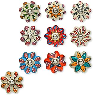 Set of 10 Handmade Flower Knobs | Colorful Multi Design Ceramic Cabinet Knobs | Drawer Pulls Ideal for Any Home, Kitchen or Office | These Drawer Knobs Comes with 1 Wrench, Screw Cap & Bolts