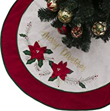 Valery Madelyn 48 inch Farmhouse Red Green Gold Burlap Christmas Tree Skirt with 3D Christmas Flowers and Tartan Trim, Themed with Christmas Ornaments (Not Included)