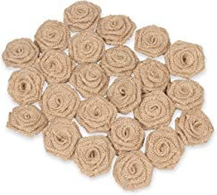 Genie Crafts 24-Pack Lace Burlap Fabric Flower Embellishments for Craft Projects, DIY Wedding Decorations, Floral Ornaments, 2.3-Inches