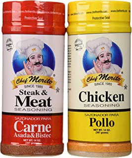 Carne Asada Chef Merito Beef and Chicken Seasoning Combo Pack 14oz