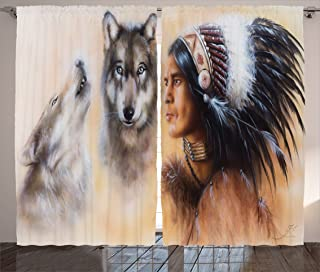 Ambesonne Colorful Curtains, Blur Mystic Painting of Young Native Man Feather with Wolves, Living Room Bedroom Window Drapes 2 Panel Set, 108