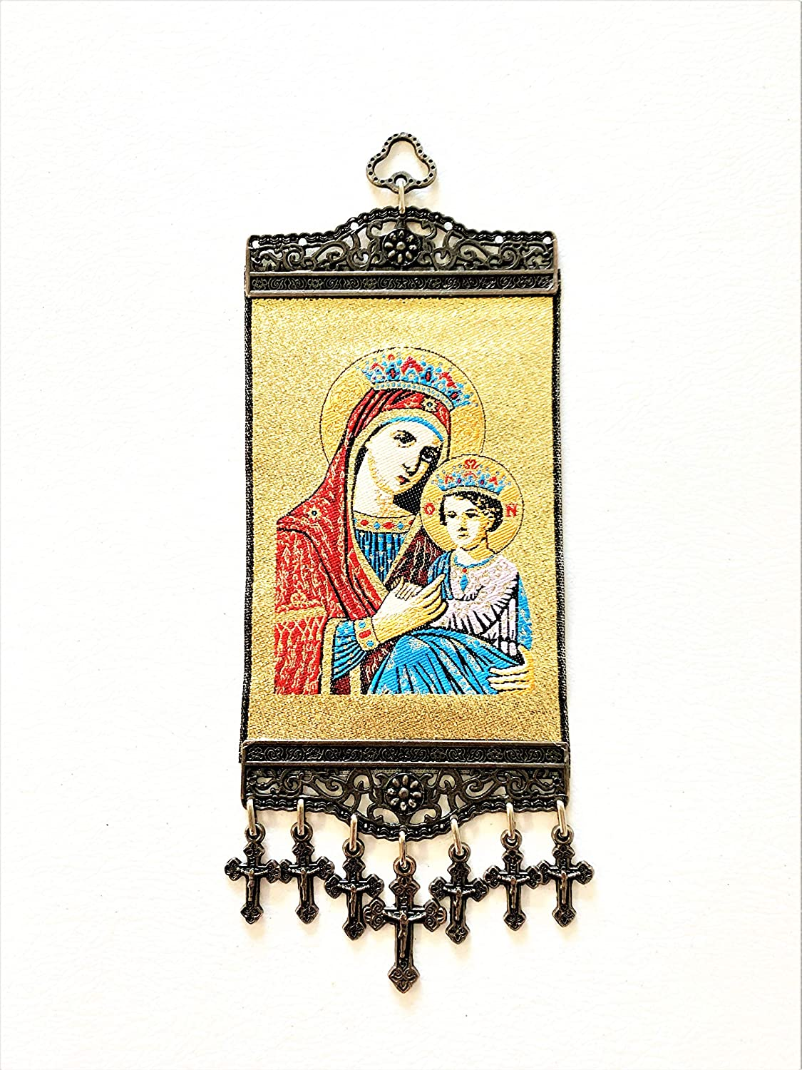 Religious Icon - Holy Saint Mary Blessed Virgin - Our Lady of Light - Wall Hanging Tapestry Banner Large Art Decor - Christian Orthodox Catholic - 11 x 4 inch - Christmas Easter Ideal