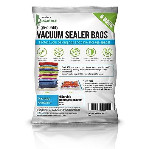BRAMBLE! Heavy Duty Vacuum Bags Storage Set, Premium High Strength Seal Space Saver - SAVING SPACE (6 Small bags 40 x 60 CM)