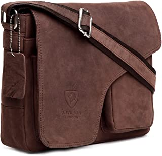 J. Wilson London Men's Shoulder Bag Brown Distressed Brown M