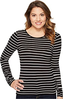 Vince Camuto Specialty Size - Petite Ruched Long Sleeve Linear Step Stripe Top
