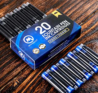 Black & Blue Ink Cartridges for Fountain Pens. Big Pack of 20 Short International Standard Size Cartridges. Perfect for Calligraphy Pen. Universal, Fine Design with Long Lasting Shade! School Supplies