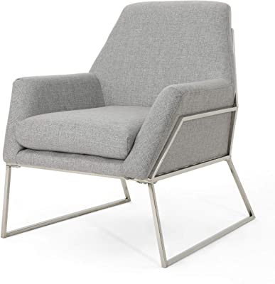Christopher Knight Home Zahara Modern Fabric Chair with Stainless Steel Frame, Grey / Stainless