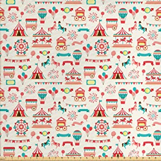 Lunarable Circus Fabric by The Yard, Carnival Ferry Wheel Carousel Balloons Ice Cream Vendor Vintage Style, Decorative Fabric for Upholstery and Home Accents, 1 Yard, Coral Seafoam