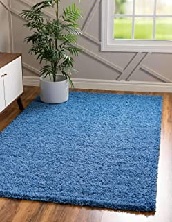 Unique Loom Solo Solid Shag Collection Modern Plush Periwinkle Blue Area Rug (4' 0 x 6' 0)
