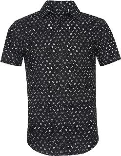Men's Casual Short Sleeve Printing Pattern Button Down Shirt