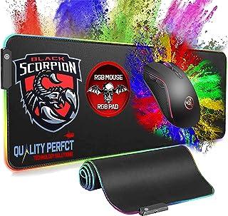 ماوس RGB مع لوحة ماوس كبيرة الحجم للألعاب، 7 أزرار 3200DPI 7 ماوس كمبيوتر بصري 7 ألوان مع حصيرة ممتدة غير قابلة للانزلاق و...