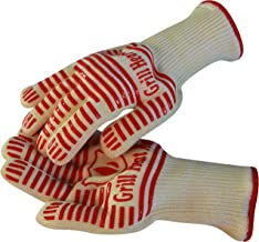 Extreme 932°F Heat Resistant - Light-Weight, Flexible BBQ Gloves - 100% Cotton Lining for Super Comfort. Red, One Size.