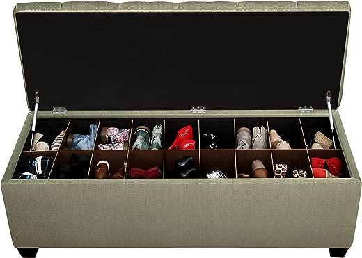 B00NBSTJBE✅The Sole Secret Seafoam Diamond Tufted Shoe Storage Bench, Medium