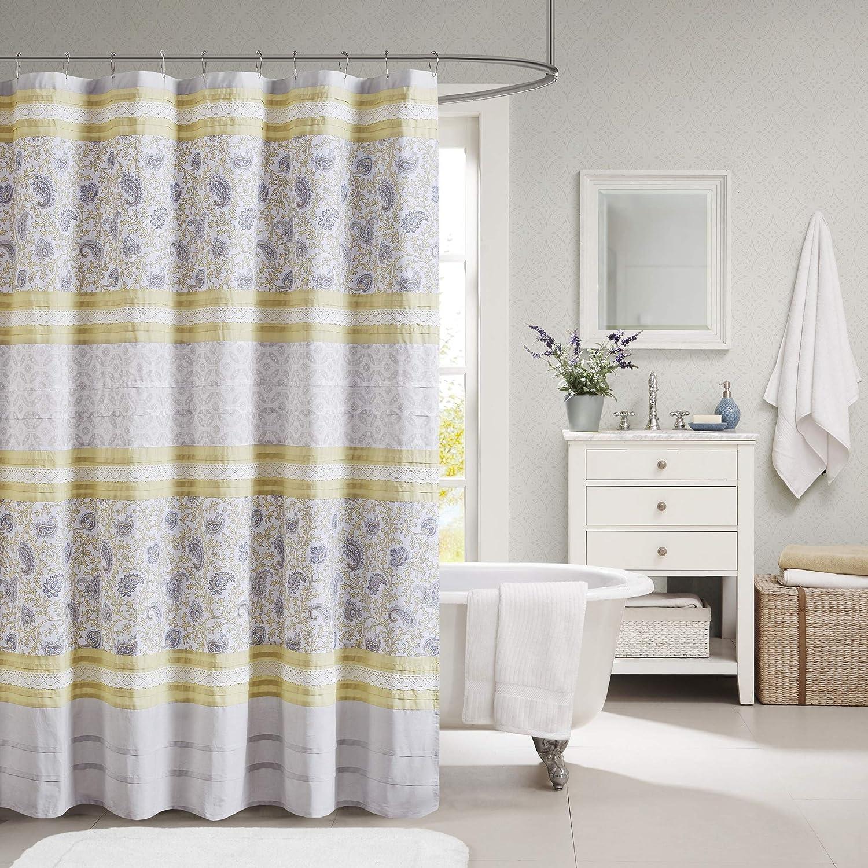 Madison Park Dawn 人気急上昇 Cotton Fabric 休日 Paisle Shower Curtain Pintucked