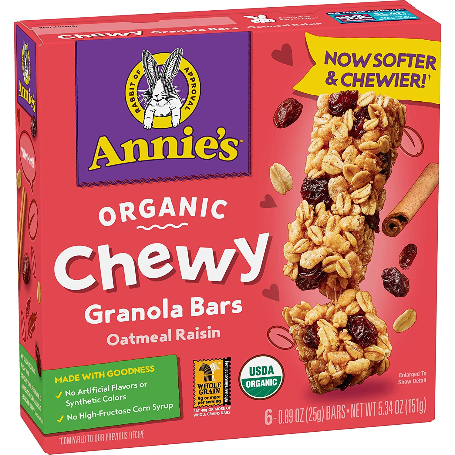 Annie's Organic Chewy Easy-to-use Granola Bars Oatmeal 5.34 c 6 Quality inspection oz Raisin