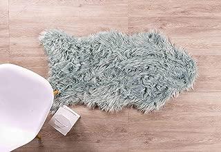 Super Area Rugs Soft Faux Fur Sheepskin Shag Silky Rug Baby Nursery Childrens Room Rug Teal 2' 6