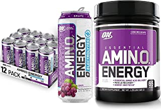 Optimum Nutrition Amino Energy Powder: Concord Grape (65 Servings) with Essential Amino Energy Plus Electrolyes Sparkling ...