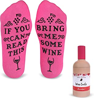 Cavertin Bring Me Wine Funny Socks with Gift Packaging  Perfect Birthday Gift Idea for Her   Gag Gift For Mother's Day