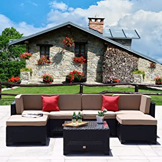 Cloud Mountain 7 Piece Patio Furniture Set Outdoor All-Weather Wicker Sectional Set Garden Rattan Conversation Set Cushioned Sofa and Coffee Table, Black Rattan with Khaki Cushions