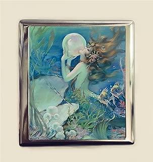 Mermaid Pearl Cigarette Case Business Card ID Holder Wallet Art Deco Nouveau 1920s