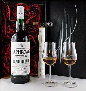 Geschenk Laphroaig Quarter Cask Single Malt Whisky  Glaskugelportionierer  2 Bugatti Whiskey Gläser
