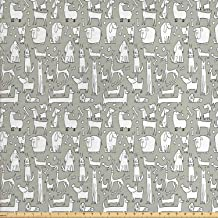 Lunarable Dog Bone Fabric by The Yard, Composition of Doodle Dog Print with Labrador Hound Pug Dachshund Breeds, Decorative Fabric for Upholstery and Home Accents, 1 Yard, Khaki White