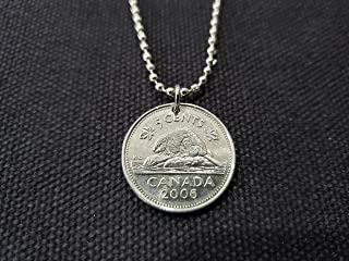CoinageArt -13th Birthday -Beaver Necklace -Canadian 5 Cent coin dated 2006 on Adjustable Length Ball Chain -Canada Beaver Coin Necklace 625