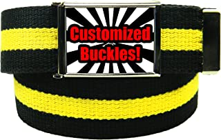 Custom Printed Men's Flip Top Bottle Opener Buckle with Any Color Canvas Web Belt