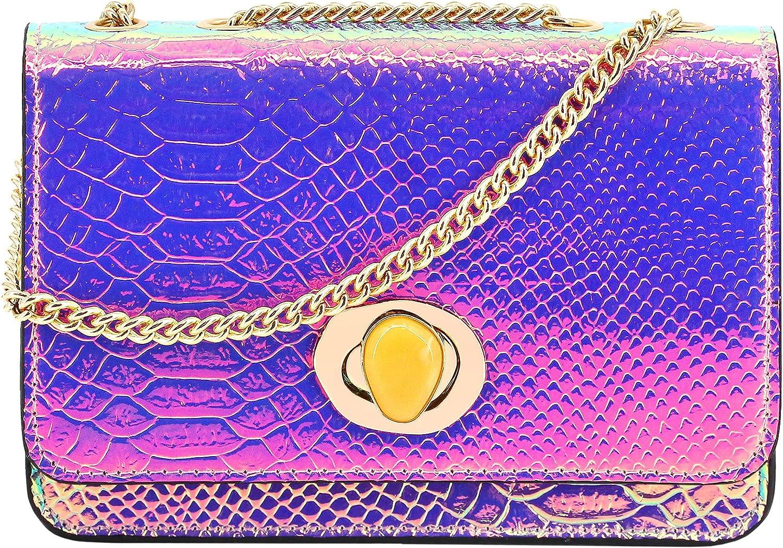 Segreto Women specialty shop gift Shiny Charming Hologram Chain Holographic Handbag