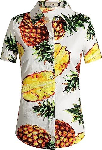 SSLR Camisa Estampado de Piñas Tropical Manga Corta Estilo Hawaiano de Algodón para Mujer