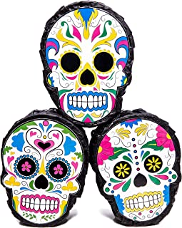 Blue Panda 3-Pack Sugar Skull Mini Pinatas - Mexican Party Supplies for Cinco De Mayo, Fiesta Parties, and Day of The Dead 4 x 7 x 2 Inches