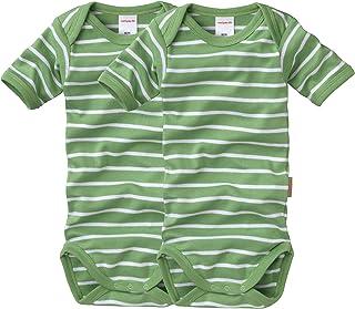 wellyou Baby und Kinder Doppelpack kurzarmbody/Baby-Body Junge aus 100% Baumwolle, Kurzarm 2er Set in grün weiß gr 50-134 gr