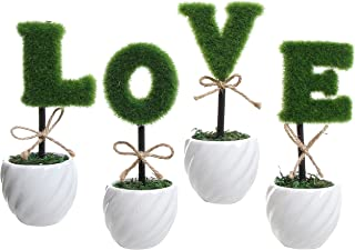 MyGift Love Decoration White Ceramic Green Hedge Artificial Plant Set/Set of 4 Fake Plant Letters