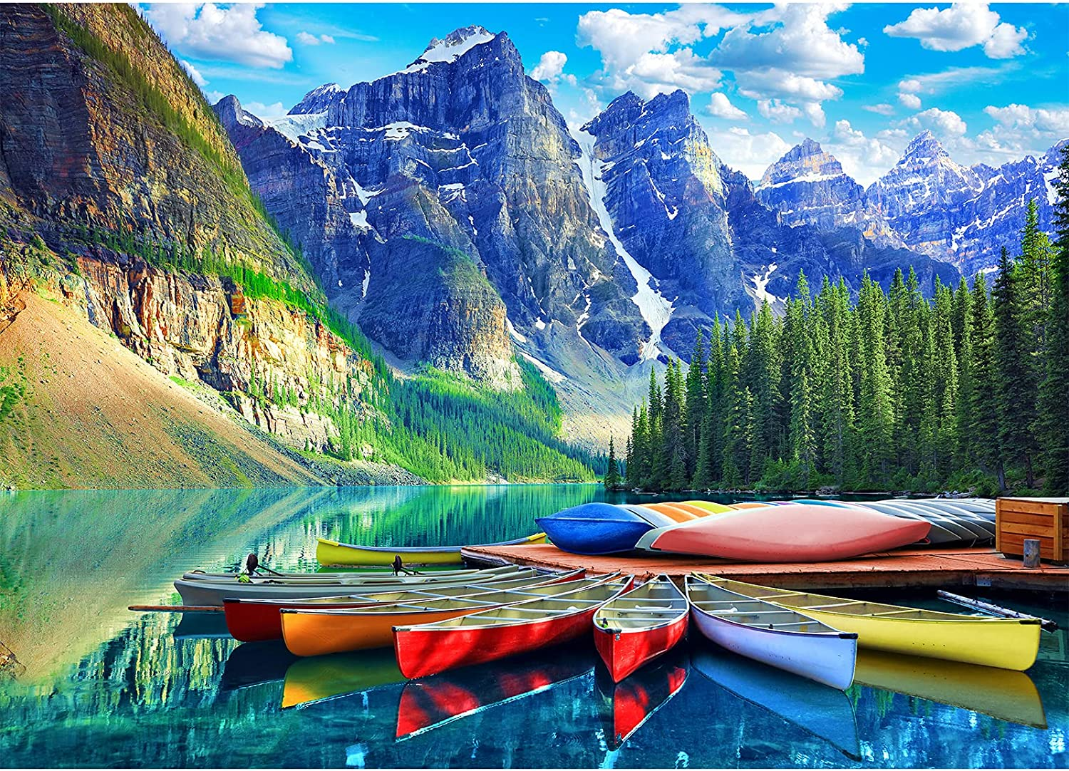 HUADADA 1000 Piece Puzzles for Adults - Moraine Lake Canoes - Puzzles1000Piece Nature Landscape Jigsaw Puzzles for Adults and Kids (27.56