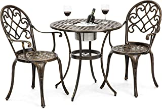 Best Choice Products Cast Aluminum Outdoor Patio Bistro Table Set for Backyard, Garden, Porch, Deck w/Attached Ice Bucket, 2 Chairs, Copper