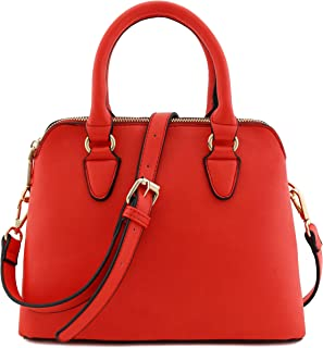 Classic Double Zip Top Handle Dome Satchel Bag