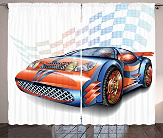 Ambesonne Cars Curtains, Cartoon Style Speeding Racing Car Event Championship Racetrack Victory Drive, Living Room Bedroom Window Drapes 2 Panel Set, 108